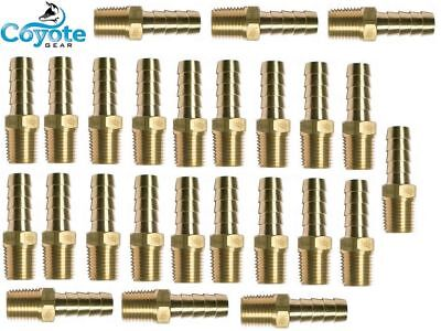 "25 Pack Lot Brass Hose Barb 3/8"" X 1/8"" Male NPT Thread Hex Straight Fitting"