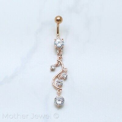 14K Rose Gold Triple Plated Swirl Simulated Diamond Dangle Belly Navel Ring