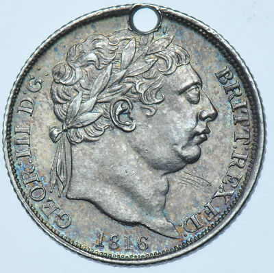 1816 Sixpence British Silver Coin From George Iii Gef