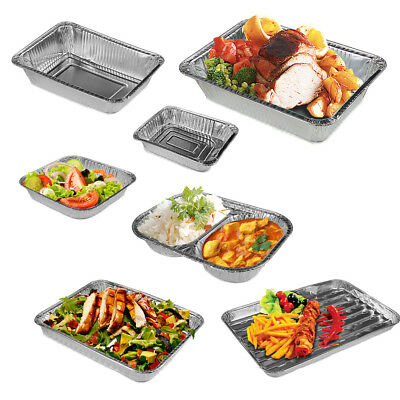 Foil Food Serving Trays Aluminium BBQ Grill Plates Disposable Grilling Baking