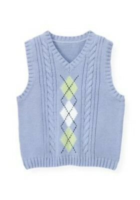 Janie and & Jack Boys Preppy Celebration 7 NWT Argyle Blue Sweater Vest SS1