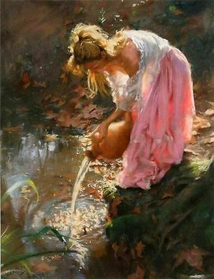 ZWPT390 modern % hand-painted girl pondside wall art oil painting on canvas