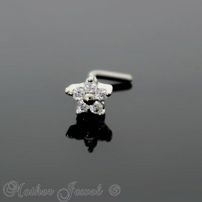14K White Gold Ip Simulated Diamond Flower L Shape Bent Nose Piercing Stud