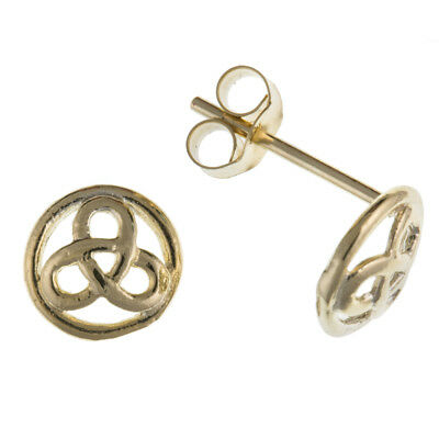 New 9ct Yellow Gold Round Trinity Knot Stud Earrings Celtic Jewellery Gift Boxed