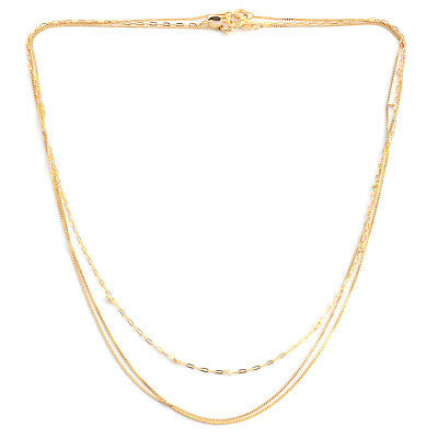 Set of 3 Diamond Cut Box Anchor and Curb Chain 18 In 14K Yellow Gold Over Silver