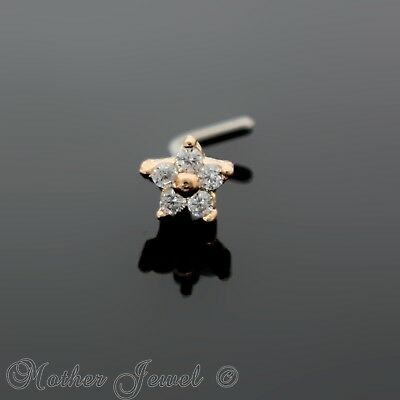14K Rose Gold Ip Simulated Diamond Flower L Shape Bent Nose Piercing Stud