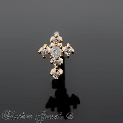 14K Rose Gold Ip Simulated Diamond Cross L Shape Bent Nose Piercing Stud