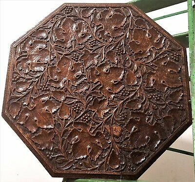 Hand Carved Wood Panel Antique French Grapes Vine Table Top Salvaged Furniture