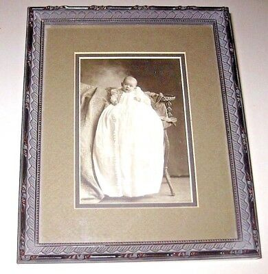 Antique/Vintage Baby Christening Picture Framed Photo Late 1800's / Early 1900's