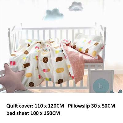 3× Nordic Mashup Baby Bedding Cotton Kids Bed Sheet Quilt Cover Pillowcase set.