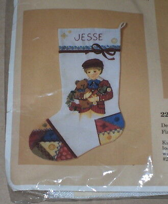 1986 Boy w/ Teddy Bear Crazy Quilt Stitchery / Crewel Christmas Stocking Kit NIP