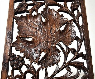 Grapes Lacework Lace Panel Antique French Hand Carved Wood Carving Sculpture 4