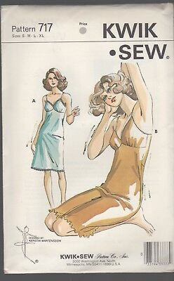 KWIK SEW #717 vintage sewing pattern LADIE'S FULL SLIP for knit, stretch fabric