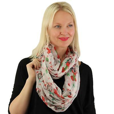 Christmas Stocking Kitty Cat Candy Cane Holiday Soft Light Loop Infinity Scarf
