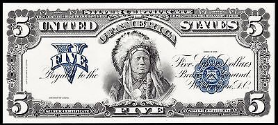 Proof Print or Intaglio Impression by  BEP - Front of 1899 $5 Silver Certificate