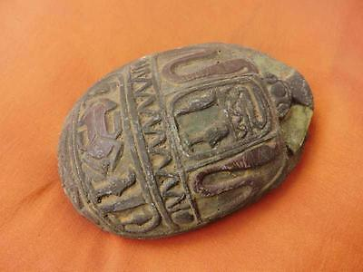 RARE Antique Solid Egyptian Amulet Beetle Scarab Statue Collection Hieroglyphics