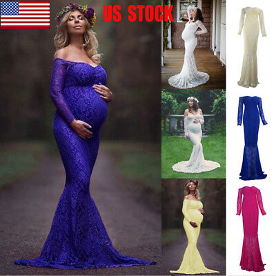 US Women's Lace Maxi Dress Pregnant Maternity Gown Photography Prop Photo Shoot