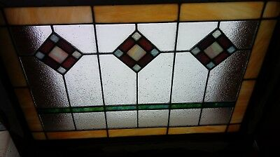"""Vintage Stained Glass Window Architectural Salvage Arts and Crafts-19 X 30"""""""