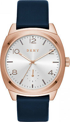 880dc0f2c08 DKNY Broome Casual Silver Dial Gold Tone Navy Leather Women s Watch NY2538  SD