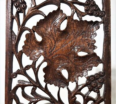 Grapes Lacework Lace Panel Antique French Hand Carved Wood Carving Sculpture 5