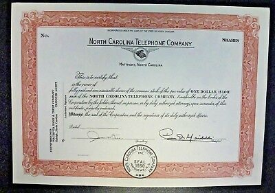 {BJSTAMPS} NORTH CAROLINA TELEPHONE COMPANY Unissued Stock Certificate