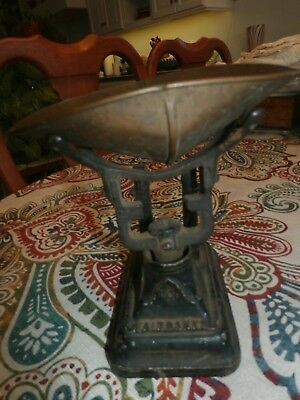 Antique Fairbanks Cast Iron Scale Measure Tool w/ Brass or Copper Bowl