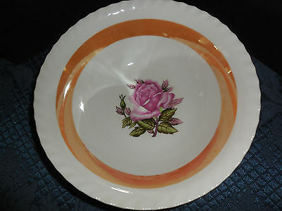 "Westwood Fine China Handcrafted Serving Bowl Pink Roses Trimmed In Gold 9"" Euc"