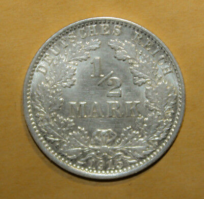 Germany 1/2 Mark 1915-J Brilliant Uncirculated Silver Coin - Imperial Eagle