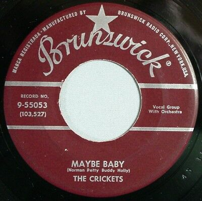 """HEAR IT 50's 45 rpm record Buddy Holly & Crickets """"Maybe Baby"""" from 1958"""