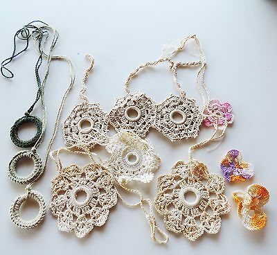 Vintage Shade Pulls Crocheted Lot of 9 Mixed Desisgn Handmade Curtain Pulls