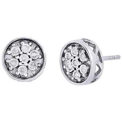 Diamond Circle Earrings .925 Sterling Silver Round Cut Designer Studs 0.09 Ct.