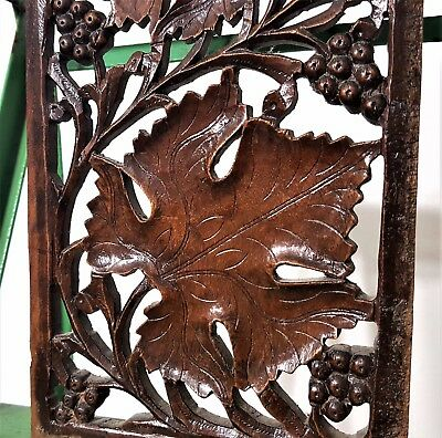 Grapes Lacework Lace Panel Antique French Hand Carved Wood Carving Sculpture 1