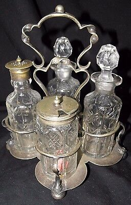 Antique Frank Cobb & Co S Epns Sheffield 9 Piece Cruet Set Circa 1905-1911~Rare