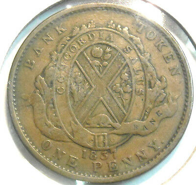 1837 Canada Large Penny Canada Bank Token Nice Circulated Two Sous City Bank