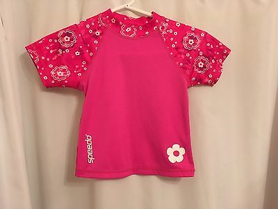 Speedo Pink Floral Color Block Rash Guard Swim Shirt Size M 2-4Y 33-45lbs