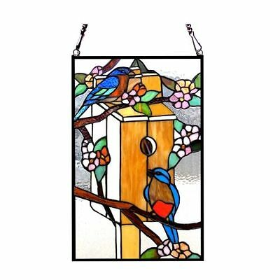 Matching PAIR Floral Bird House & Birds Tiffany Style Stained Glass Window Panel