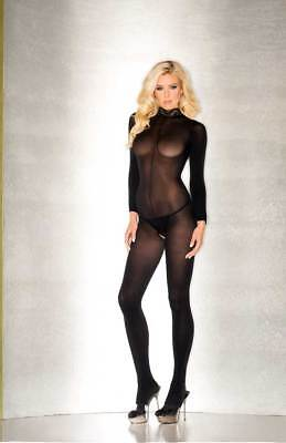 Sheer Long Sleeve Crotchless Jumpsuit Bodystocking Lingerie Adult Women