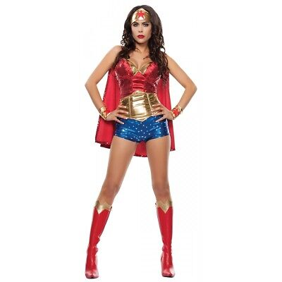Superhero Costume Adult Wonder Woman Halloween Fancy Dress