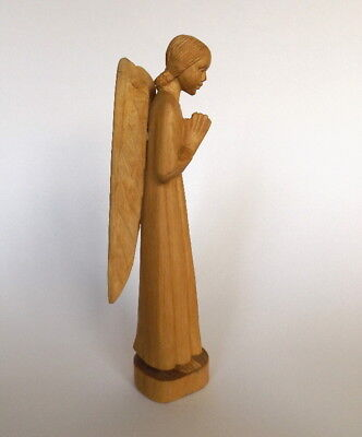 Vintage Guardian Angel hand carved Gothic wooden figurine 1940s-1950s Home Decor