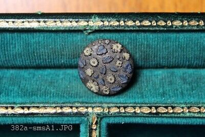 Beautiful Antique Painted Black Glass Button Flowers & Leaves - 15mm