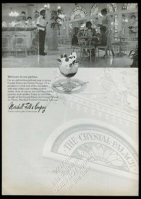 1975 Marshall Field's Crystal Palace ice cream parlour Chicago store photo ad