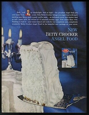 1961 Betty Crocker Angel food cake mix white frosted photo vintage print ad