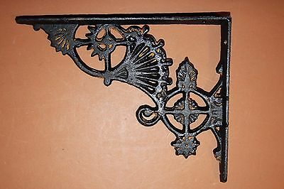 "(4), Shelf Brackets, Vintage-look, Cast Iron, Elegant,Black Fan, 8 1/2"", B-47"