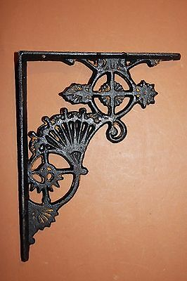 "(2), Black Shelf Brackets, Cast Iron Wall Brackets, Black Fan, 8 1/2"", B-47"