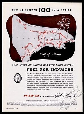 1946 United Gas Texas Louisiana pipeline map vintage print ad