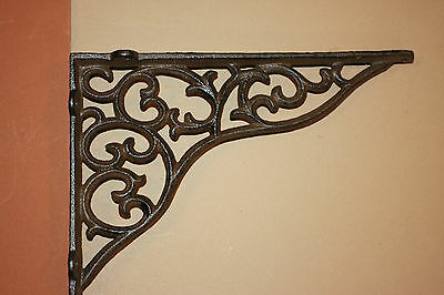 (2) pcs, Elegant Country Wall Shelf Brackets, Solid Cast Iron, Victorian, B-18