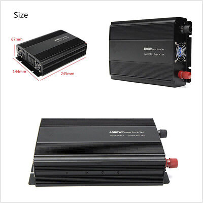 Modified Sine Wave 4000W 8000W Peak Car SUV DC12-AC110V Car Power Inverter Black
