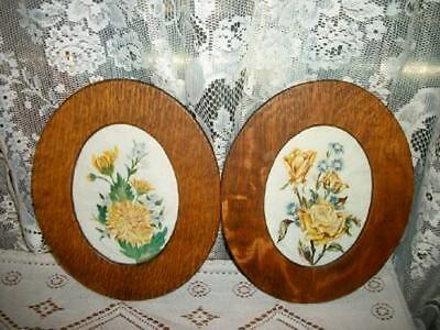 Antique Victorian Oak Frames Roses Chic Floral Watercolor Paintings Pair Shabby