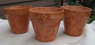 Set of 3 Terra Cotta Flower Pots,hand painted,round,from 1990s -brown,rust,craft