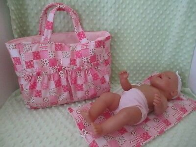 """Dolls Nappy Bag & Change pad, """"Patch Look Pink """""""